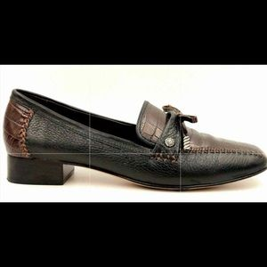 Brighton Kent Leather Black and Tortoise Loafer
